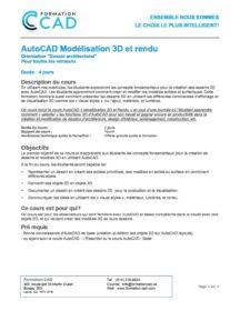 Formation AutoCAD 3D Rendu (3 jours)