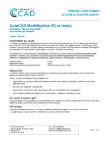 Formation AutoCAD 3D Rendu - Mécanique & Industriel (4 jours)