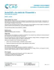 Formation AutoCAD 2D Au-delà de l'Essentiel (2 jours de semaine)