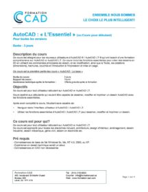 Formation AutoCAD 2D Base Architecture & Design (6 jours)
