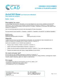 Formation AutoCAD 2D Complète Générale (8 jours)