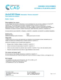 Formation AutoCAD 2D Base Dessin Mécanique & Industriel (6 jours)