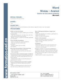 Formation Microsoft Word Avancé (1 jour)