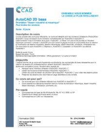 Formation AutoCAD 2D Base Dessin Mécanique & Industriel (6 SAMEDIS)