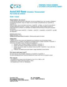Formation AutoCAD 2D Base Dessin Évènementiel (6 jours)
