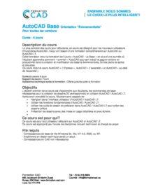 Formation AutoCAD Dessin 2D & 3D Complète - Évènementiel (13 jours)